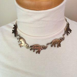 Vintage Pididdly Elephant Link Necklace
